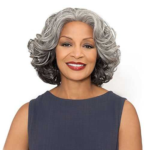 Wavy Synthetic Lace Front Wigs Shoulder Length by Foxy Silver