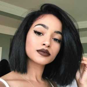 2. YAKI Straight Short Bob Haircut Front Lace Wig - Black Wigs That Look Real