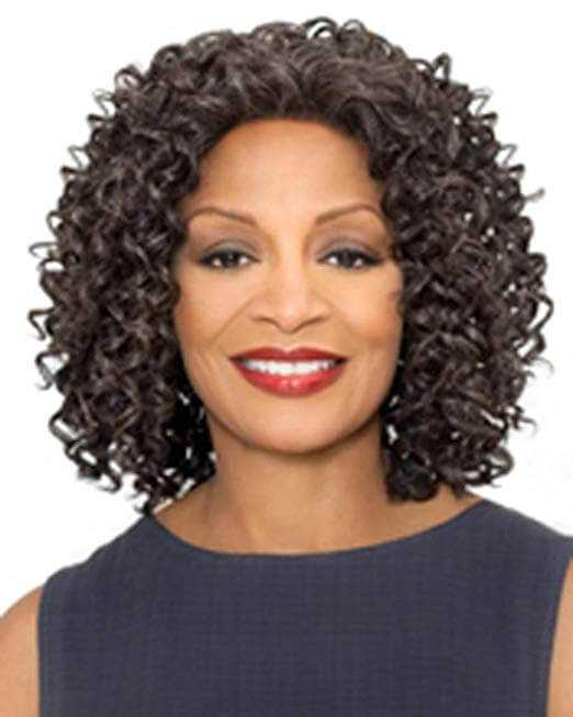 Shoulder Length Curly Synthetic Lace Front Wig by Foxy Silver