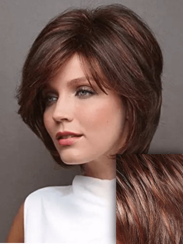 Black to Red Ombre Bob Synthetic Short Hair Choppy Layers Side Fringe Open Weft Wig