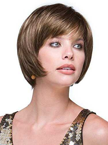 Layered Bob Angled Sides Synthetic Wig with Caramel Ombre