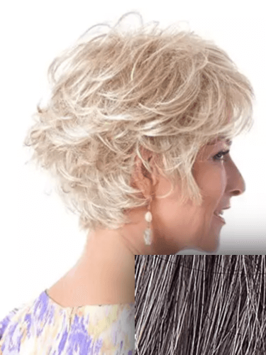 Soft Curls Layered Short to Gray Ombre Short Hair Wig by Toni Brattin
