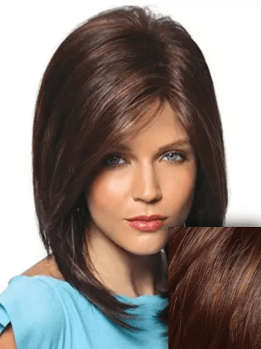 Layered Mid-Length Tease Ends Synthetic Short Hair Open Weft Black to Red Ombre Wig