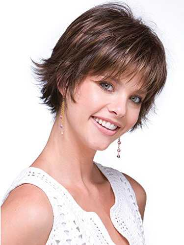 Short Wispy Texture face Framing Synthetic Caramel Ombre Wig Rene of Paris