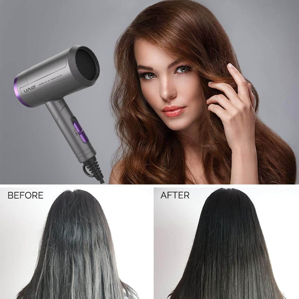 Showing A Woman Hair Which Dried by SIU 1000W Negative Ionic Blow Dryer