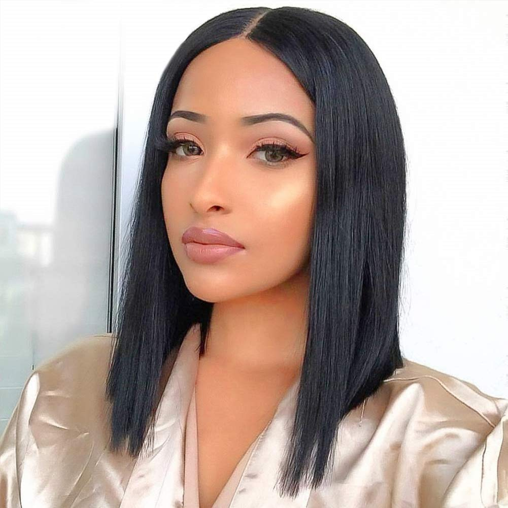 Straight Lace Front Wigs Middle Part Short Bob